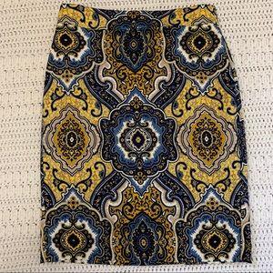 Ann Taylor paisley pencil skirt
